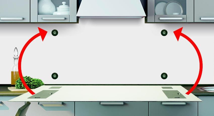 Схема установки панели из стекла с использованием магнитов