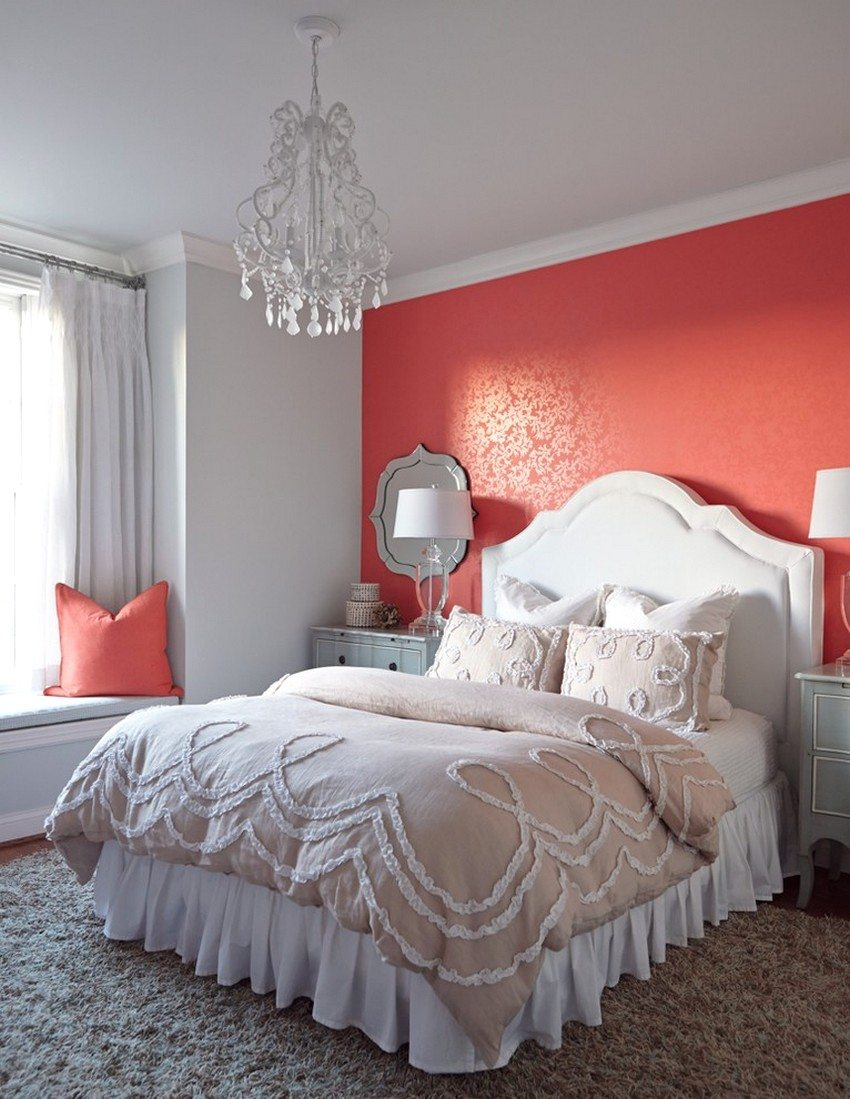 An example of combining gray and coral wallpaper