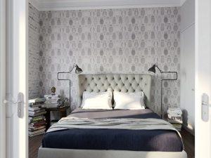 Обои двух видов в интерьере спальни, оформленной в различных оттенках серого цвета