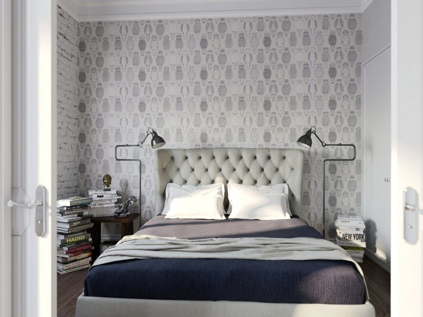 Wallpaper of two kinds in the interior of the bedroom, decorated in various shades of gray