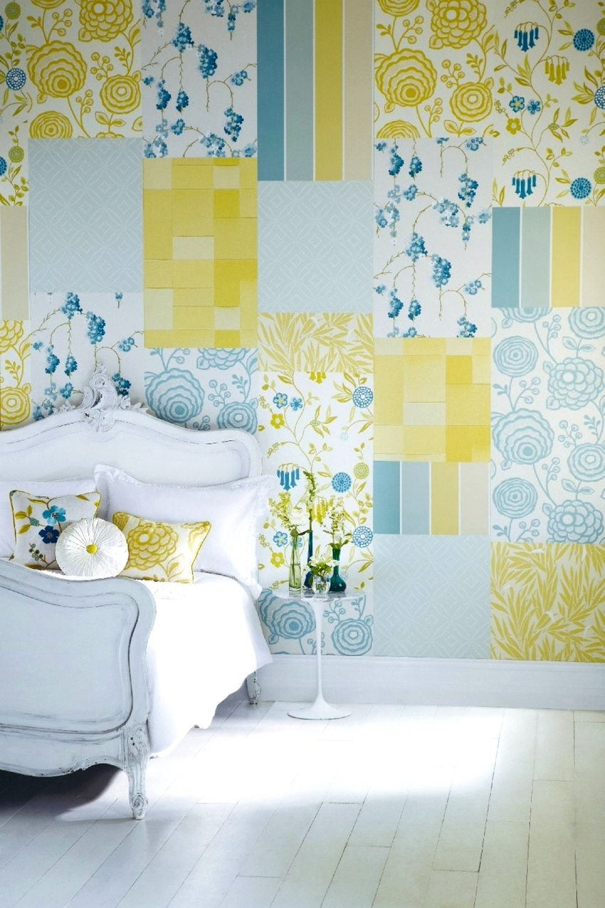 The walls in the bedroom are decorated with several types of wallpaper in patchwork technique