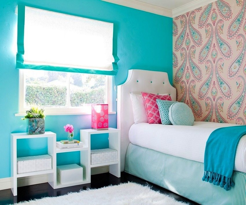 Wallpaper of different colors will help to hide flaws of walls or ceiling