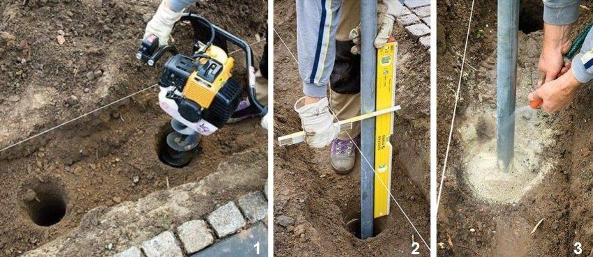 Шаги 1-3: подготовка ям, установка опор и заливка их бетоном
