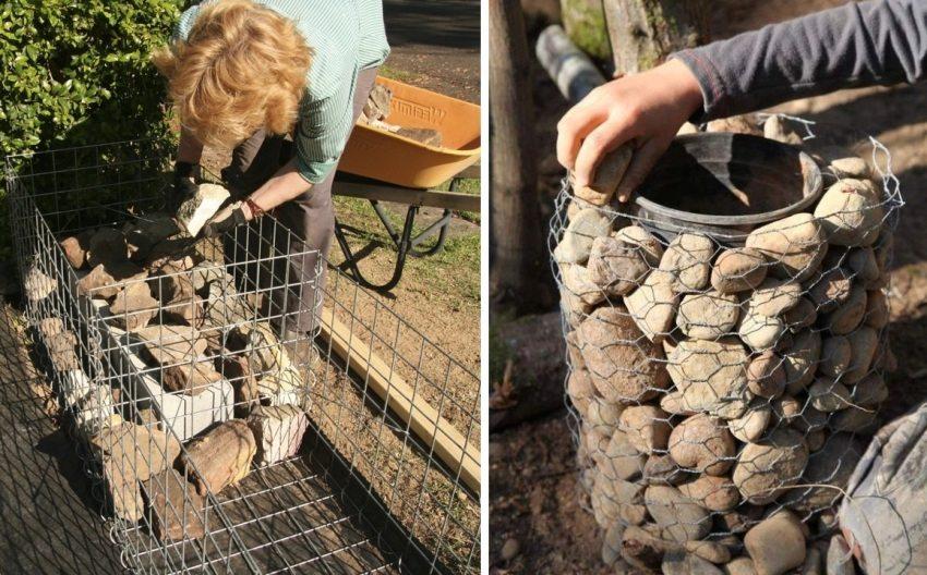 Наполнение каркаса габиона камнями своими руками