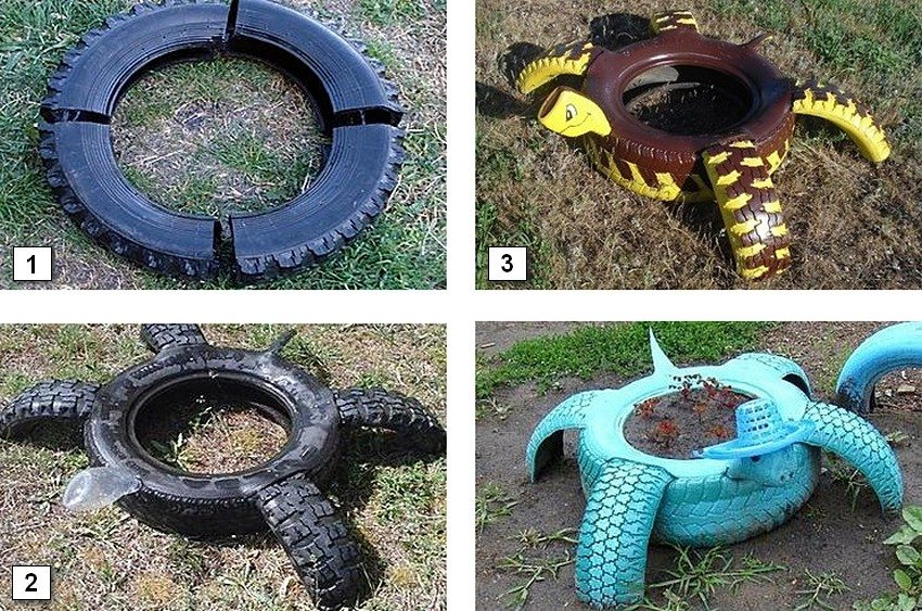 Этапы создания клумбы в форме черепахи из двух автомобильных шин: 1 - для лап черепахи разрежьте одну из покрышек на 4 равные части; 2 - закрепите отрезанные части шины в прорезях целой покрышки, зафиксируйте пластиковую бутылку, которая послужит головой черепахи; 3 - покрасьте и задекорируйте готовую конструкцию