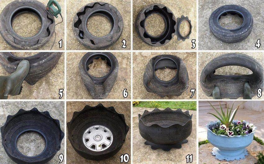 Этапы создания вазона на ножке из автомобильной шины
