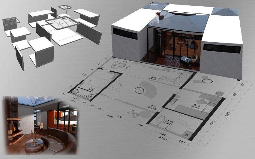 Проект жилого дома из 7 модулей
