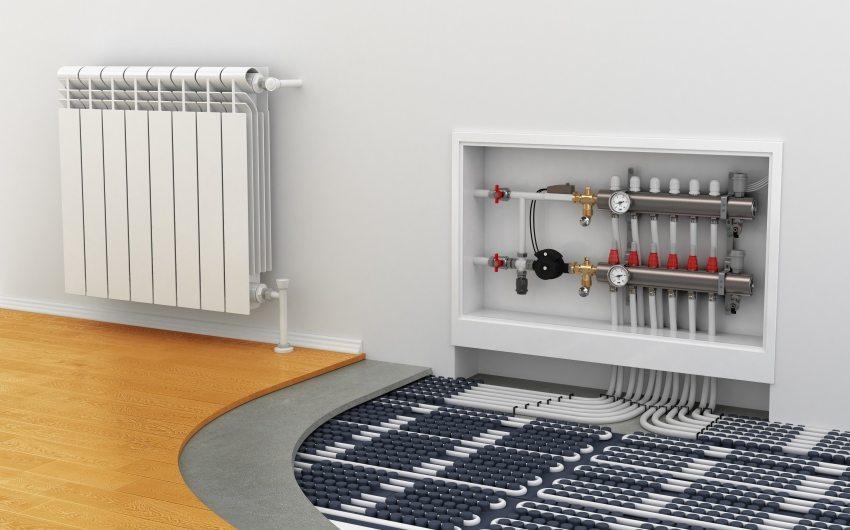 Kombinierte Heizung In Der Wohnung Mit Wasser Heizkörpern Und  Fußbodenheizungen