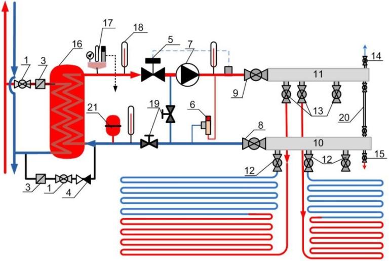 Водяное отопление теплый пол схема подключения6