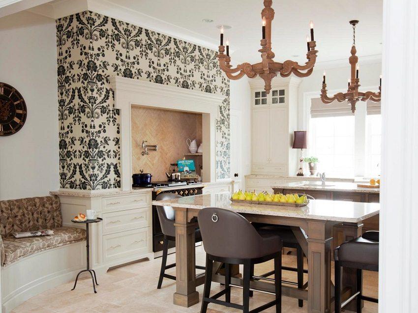 Оригинальное решение разделить помещение, выделив кухонную зону с помощью моющихся обоев