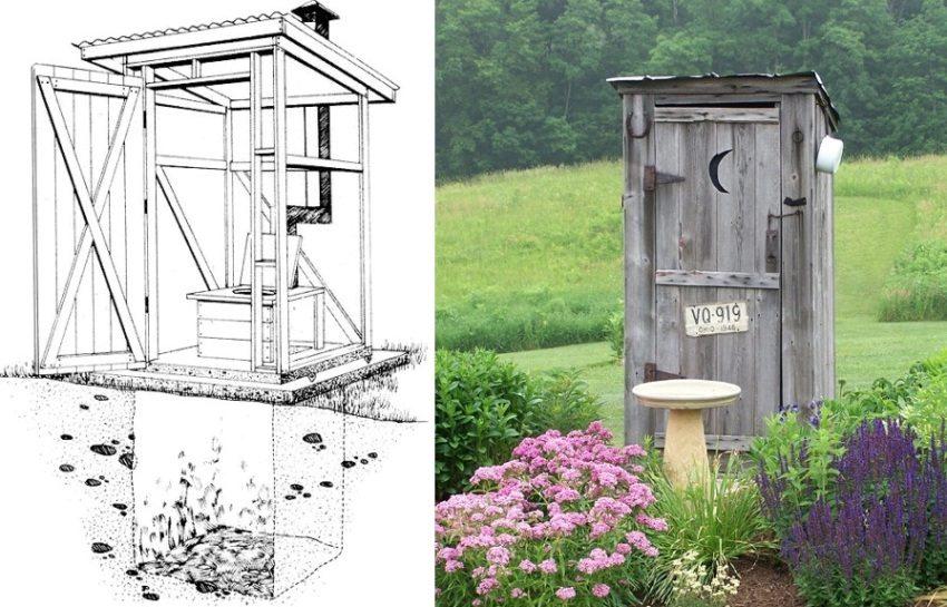 Чертеж деревянного туалета на основе выгребной ямы