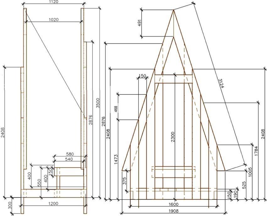 """Туалет """"Шалаш"""", рисунок 1: чертеж с размерами, вид сбоку и спереди"""