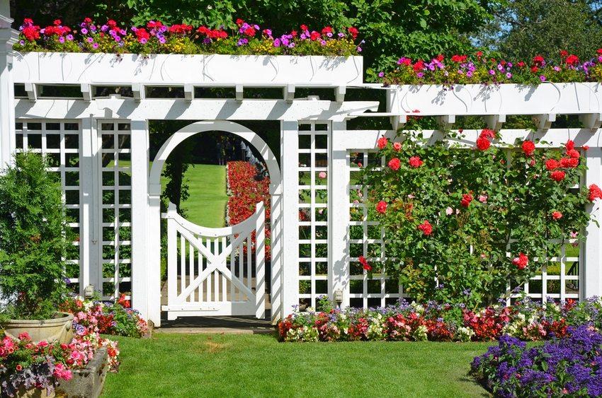 Декоративное ограждение из дерева, украшающее сад