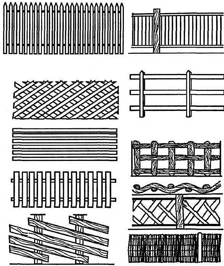 Различные варианты деревянных заборов