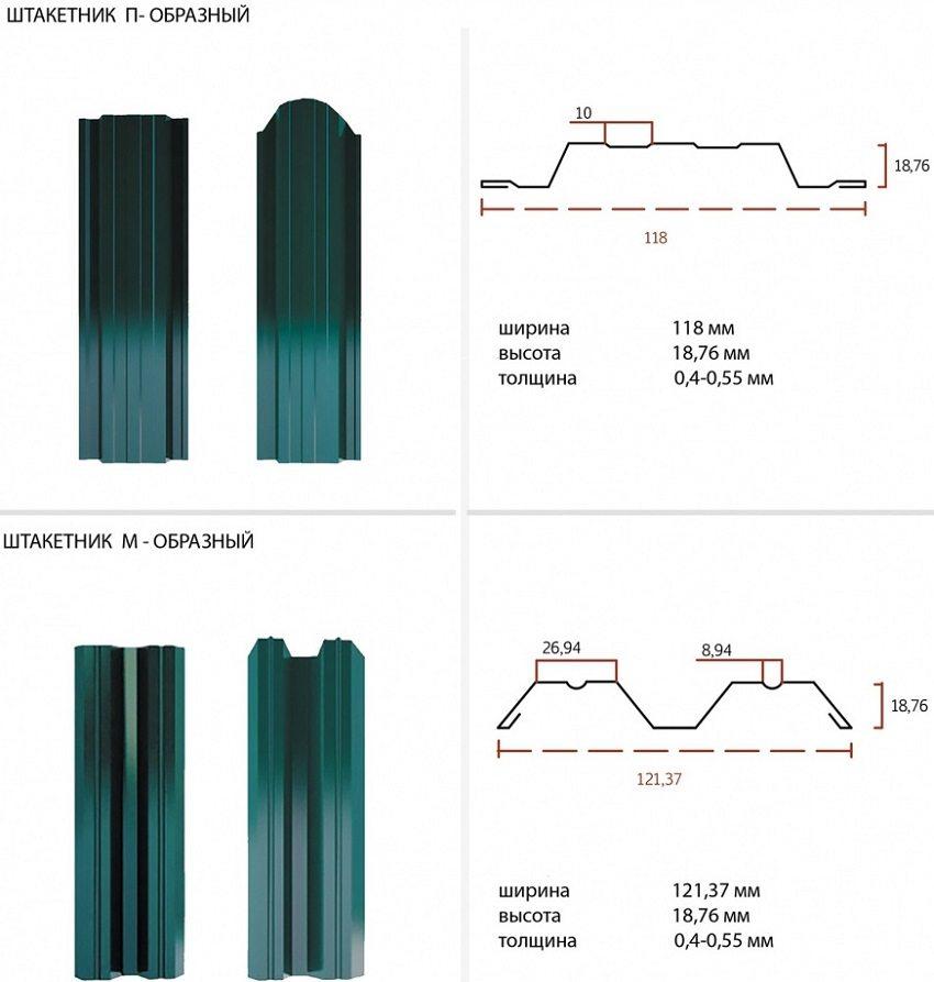 Формы классических металлических штакетин