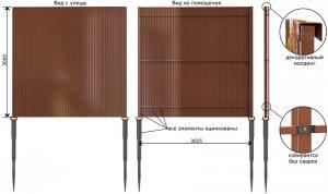 Забор из одностороннего профилированного листа высотой 3 м