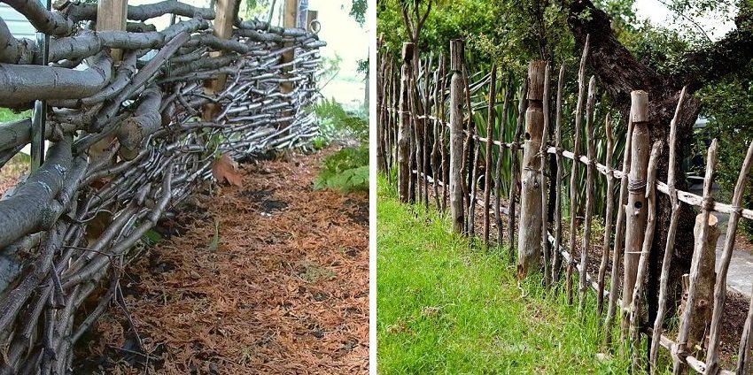Ограждение из ветвей деревьев не требует больших затрат