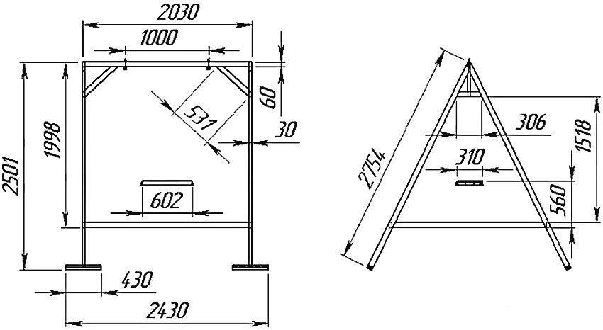 Схема устройства каркаса с размерами для садовых качелей из металла
