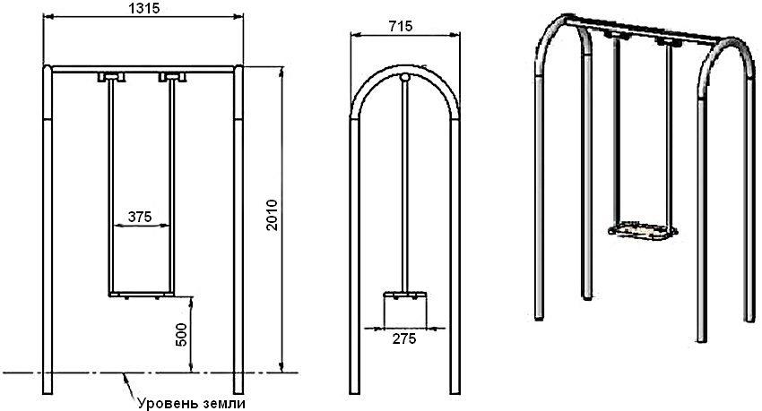 Схема устройства и монтажные размеры каркаса качелей из металла