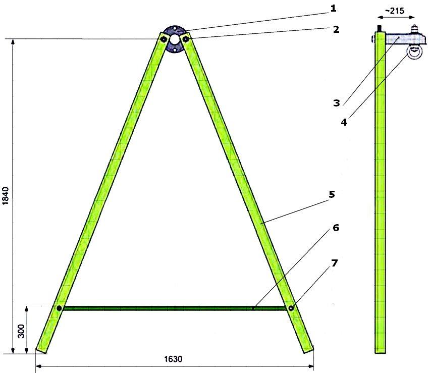 Схема устройства каркаса качелей из металла со стойками А-образной формы: 1 - фланец; 2 - гайка; 3 - перекладина; 4 - рым-гайка; 5 - стойка рамы-опоры; 6 - стяжка рамы; 7 - болт