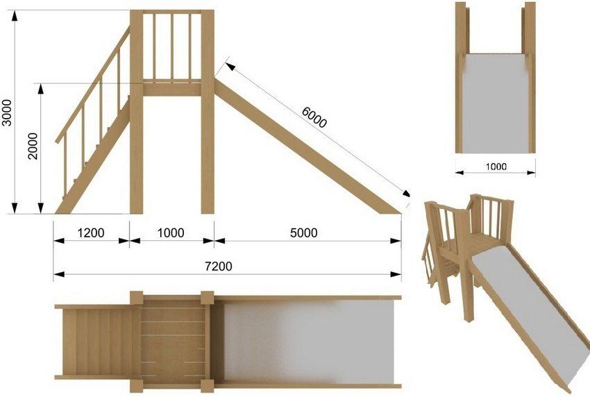 Схема деревянной горки для детской площадки в саду