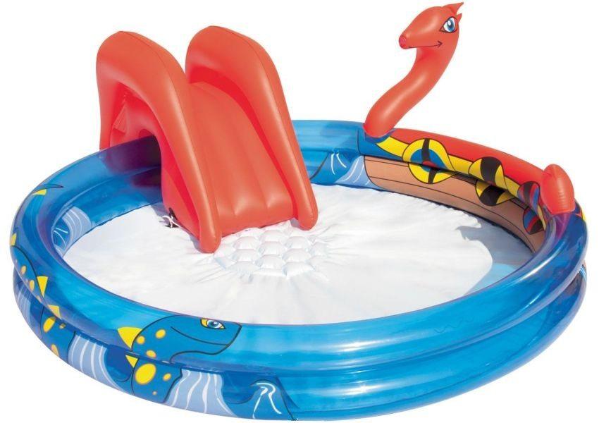 Круглый надувной бассейн с приставной горкой