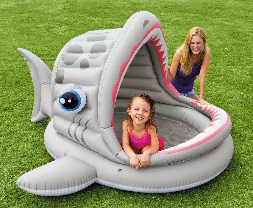 """Детский бассейн с надувным навесом в виде """"зевающей"""" рыбы"""