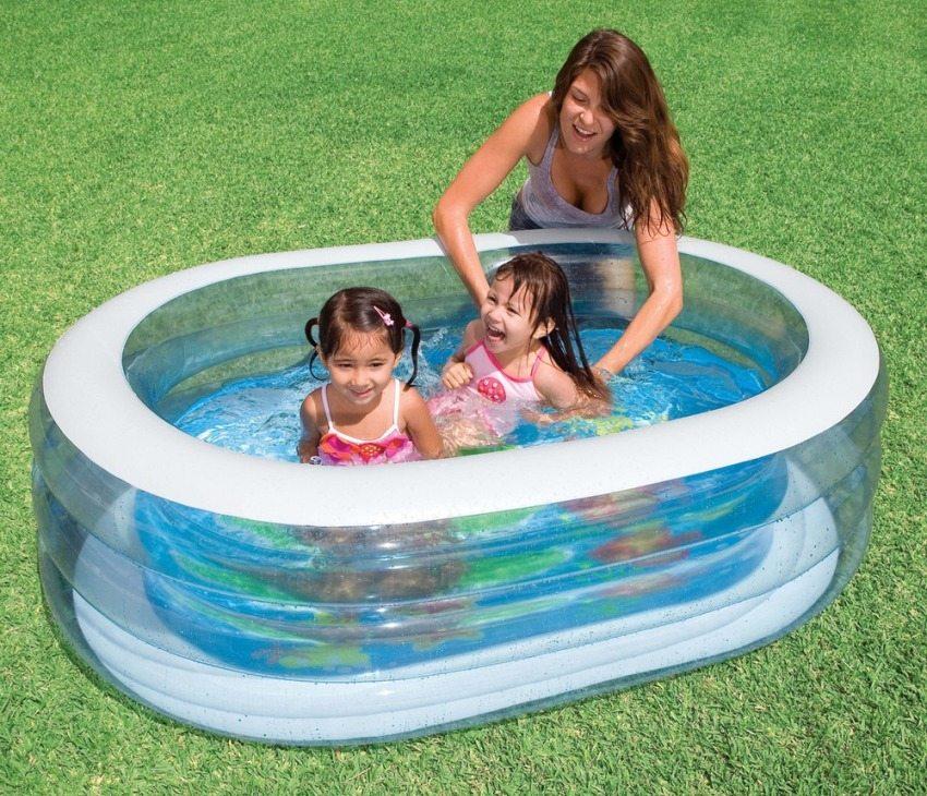 Надувной прозрачный бассейн овальной формы