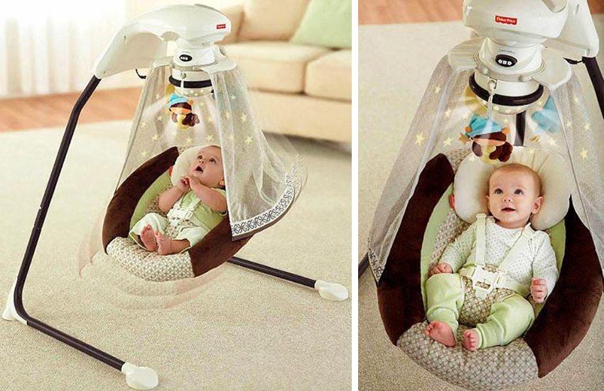 Электрические качели предназначены для колыхания малыша