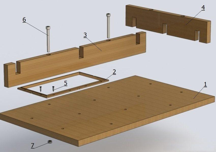 Рисунок 1. Конструкция деревянной формы для тротуарной плитки: 1 - основа, 2 - вставка, 3 - продольная стенка, 4 - поперечная стенка, 5 - шуруп, 6 - винт, 7 - гайка