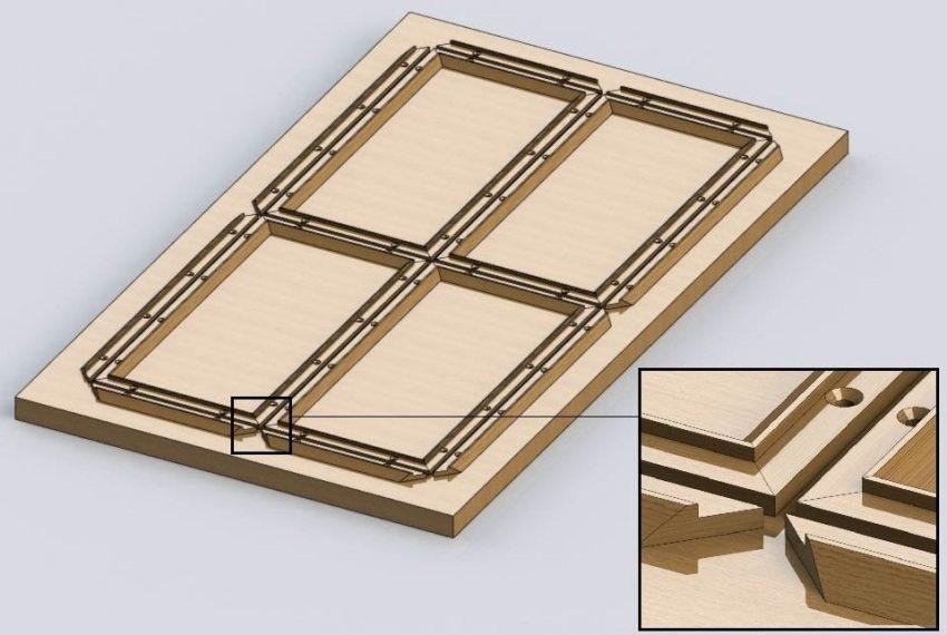 Рисунок 2. Крепление вставок для плитки к основе формы