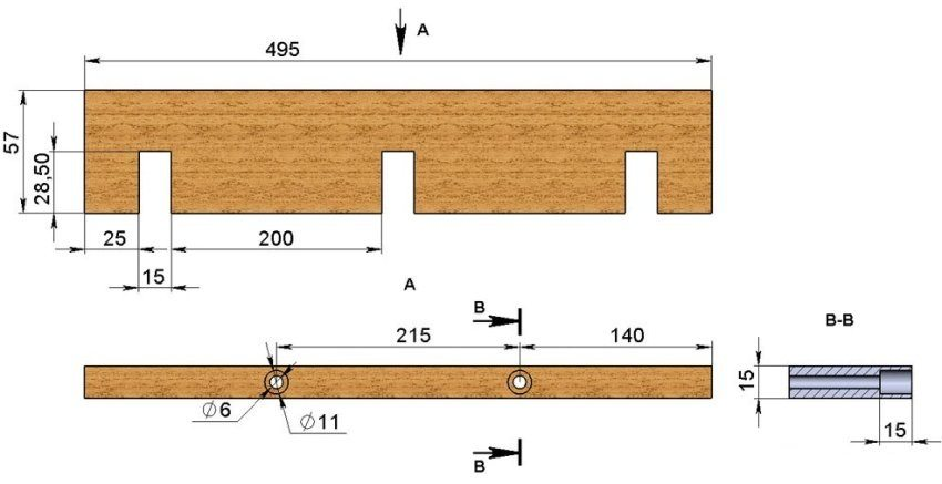 Рисунок 3. Размеры продольной стенки формы