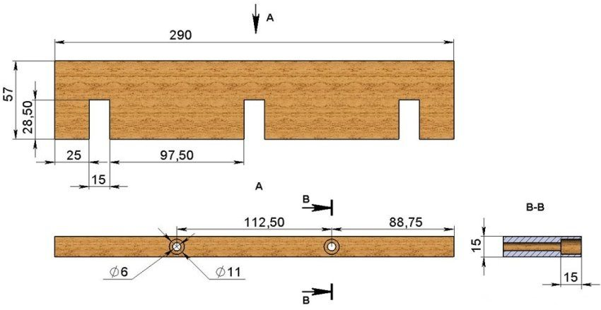 Рисунок 4. Размеры поперечной стенки формы