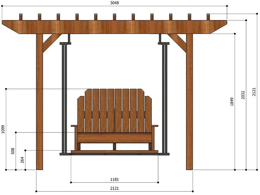 Монтажные размеры качелей из металла и дерева