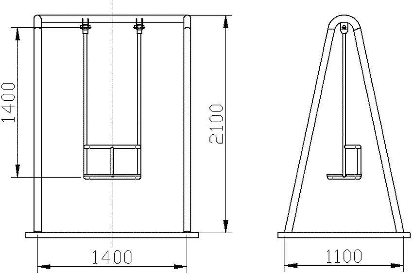 Монтажные размеры качелей с металлическим каркасом