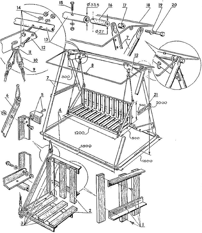 Схема устройства садовых качелей: 1 - шурупы для крепления планок спинки и сиденья; 2 - планки; 3 - уголки каркаса сиденья-качалки; 4 - штанга основания фермы качелей; 5 - заклепки; 6 - соединительная полоса жесткости сиденья и подвеска сиденья; 7 - боковые штанги фермы качелей; 8 - соединение концов опорной рамки тента; 9 - шнур для подвески сиденья качалки; 10 - карабин; 11 - кольцо; 12 - косынка-подкос; 13 - верхняя штанга фермы качелей; 14 - соединительные болты с шайбами и гайками; 15 - болт-фиксатор вкладыша; 16 - вкладыш с отверстием и внутренней резьбой под соединительный болт; 17 - широкая распорная шайба; 18 - опорная рамка для тента; 19 - шайба; 20 - болт, соединяющий верхнюю штангу с боковыми; 21 - ригель - 2 шт. (стальная полоса с болтами)