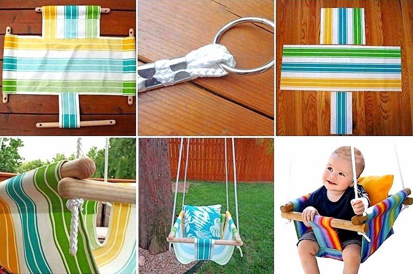 Безопасные детские качели из текстиля и дерева можно создать своими руками