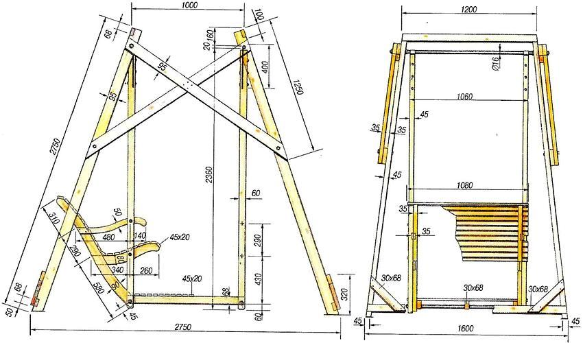 Схема устройства деревянных качелей с размерами
