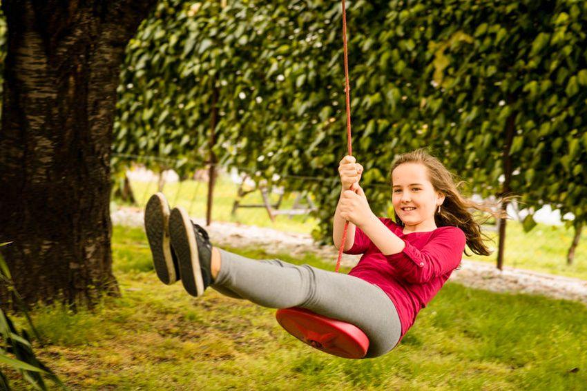 Детские качели, подвешенные к дереву на веревке