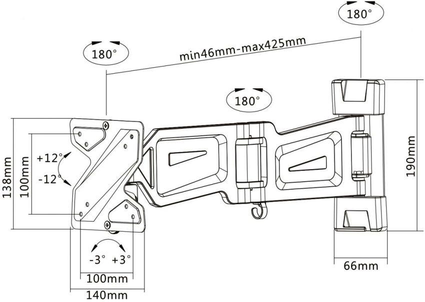 Монтажные размеры настенного кронштейна Eagle для ТВ с диагональю 13-27 дюймов