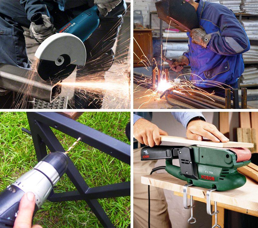 Создание скамейки требует наличия специальных инструментов для резки и сварки металла, просверливания отверстий и шлифовки дерева