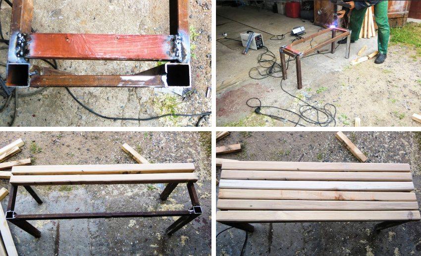 Создание скамейки из профильной трубы. Шаг 2: сварка металлического каркаса и подгонка деревянных брусьев