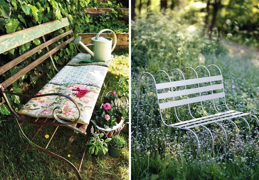 Удачное применение металлических элементов в скамейках для сада