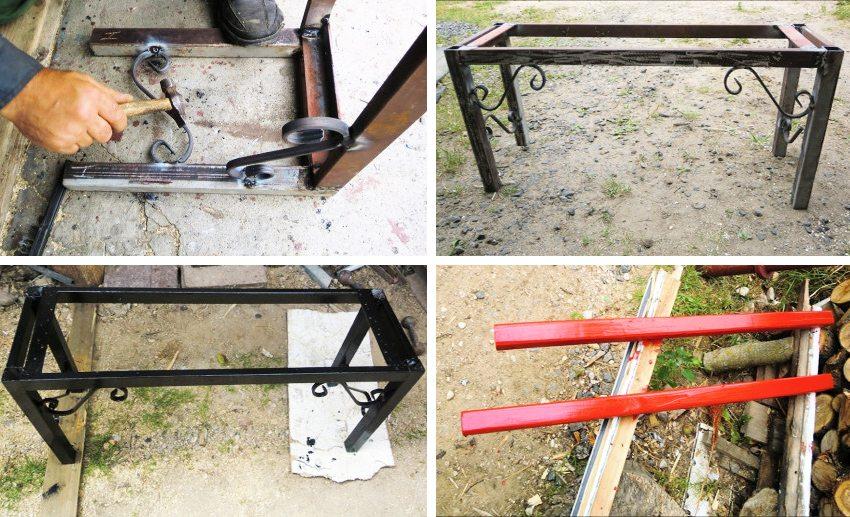 Создание скамейки из профильной трубы. Шаг 3: монтаж кованых элементов; шлифовка сварных швов; покраска металлического каркаса и деревянных брусьев
