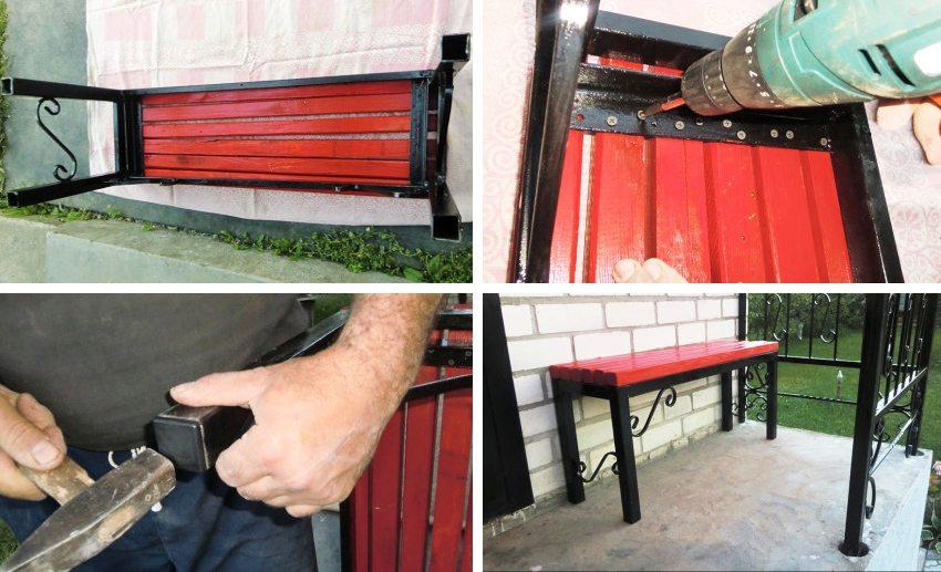 Создание скамейки из профильной трубы. Шаг 4: с помощью саморезов закрепляем бруски на каркасе, закрываем ножки пластиковыми заглушками