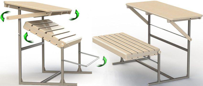 Скамейка-трансформер. Схема 1: графическая визуализация