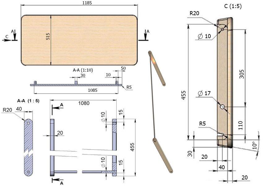 Скамейка-трансформер. Схема 2: спинка-столешница и фиксатор