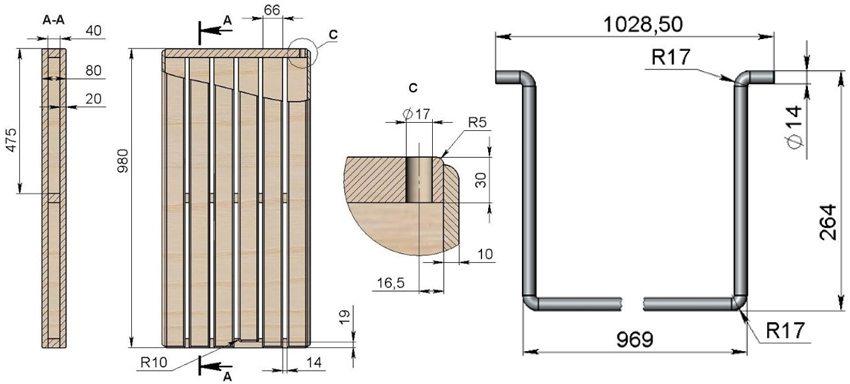 Скамейка-трансформер. Схема 3: деревянная сидушка и металлический фиксатор