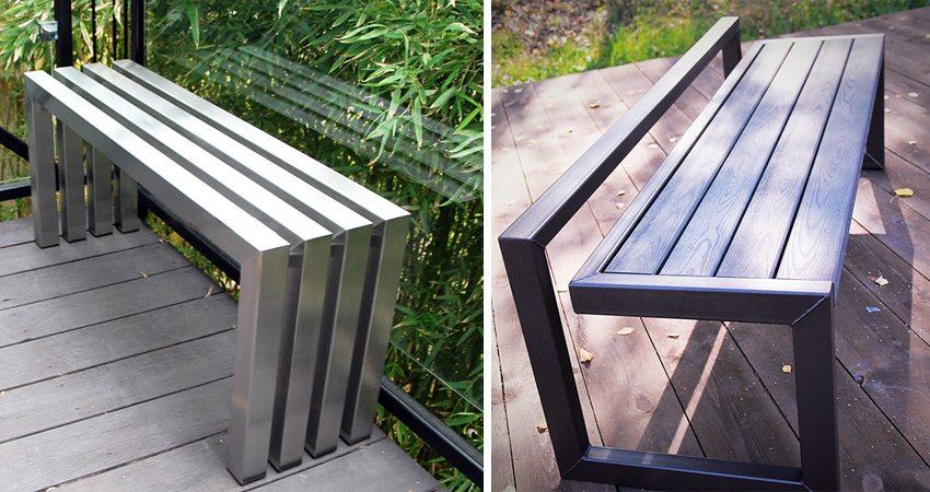 Использование металла для создания необычных конструкций лавок без спинки