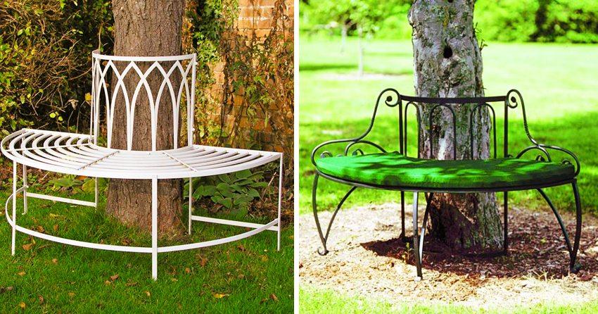 Металлическая конструкция является чудесным оформлением дерева в саду
